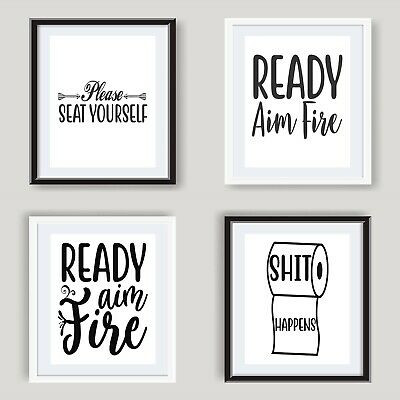 Funny Bathroom Prints Poster Black and White Bathroom Wall Art Toilet Pictures