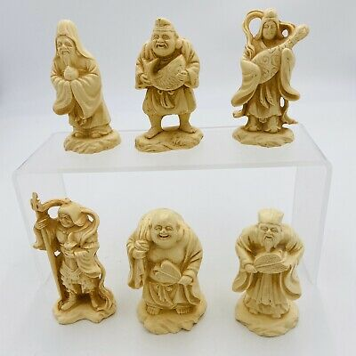 Set Of 6 Vintage Small Oriental Figurines 4""