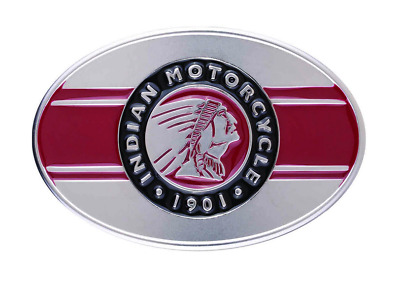 Indian Motorcycle Mens Black Silver Red Icon Headdress Logo Imc Belt Buckle 3.6""