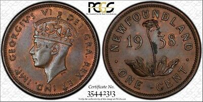 1938 PCGS MS63BN Newfoundland Small One Cent - POP=3 Penny - 1C