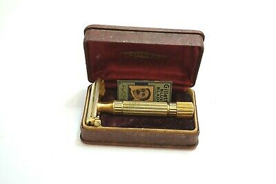 1946 - 1947 Gillette Aristocrat Gold Plated Safety Razor In Hard Shell Case