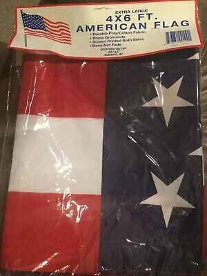 4x6 ft USA American Flag Screen Printed both sides, brass grommets, New