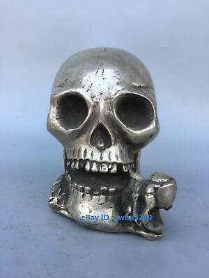 Collection decoration Chinese old Tibetan silver  hand-carved Skull statue
