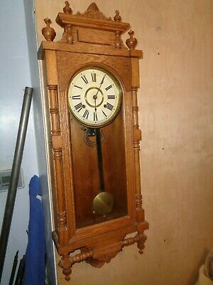 "Antique-Oak-Ansonia ""Queen Elizabeth"" Wall Clock-Ca.1900-#T859"