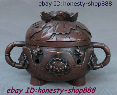 Old Chinese Dynasty Bronze Lotus Flower Incense Burner Censer Incensory Thurible