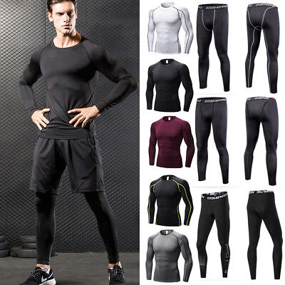 Mens Compression Base Layer Sports Tops Shirt Vest Pants Leggings Athletic Gym G
