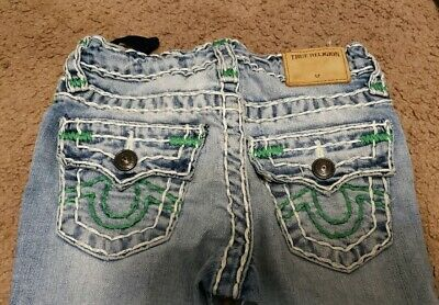 True Religion Boys Geno Super T Jeans, Size 4, Green/white, EUC