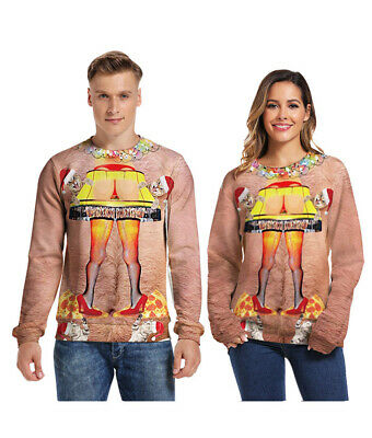 Unisex Mens Womens Ugly Christmas Sweater Hoodies Cosplay Xmas Pullover new