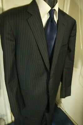 Brooks Brothers Regent Size 46L Dark Gray W/Blue Stripes 2 Button Wool Suit