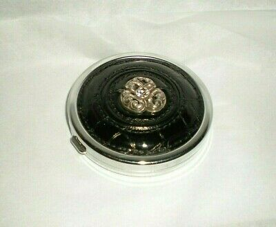 Brighton Black Leather Croc Mirrored Compact