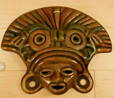 Mexican Folk Art Ceramic Aztec Mayan Tribal Warrior Face Mask Plaque 14""