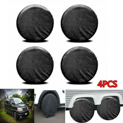 "4x Wheel Covers For RV Trailer Camper Car Truck 26"" to 27'' Tire Diameter Black"