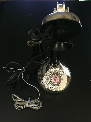 VINTAGE CANDLESTICK ROTARY TELEPHONE PHONE MICROPHONE Rare ! EAGLE ? Tested!
