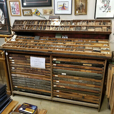Antique 30 Case Drawer Wood Type Printers Letterpress Cabinet Industrial