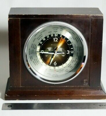 Vintage ONE (1) JEWEL Bulova Mantle Clock World GMT Local Times made in JAPAN