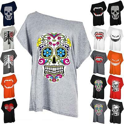 Womens Halloween Scary Colorful Sugar Skull Cosplay Ladies Batwing Baggy T-Shirt