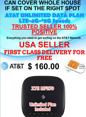At&T Lte,4G,5G Unlimited Zte Mf279  Router $34.99 Monthly