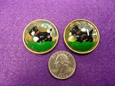 #1 of 3, PAIR OF VTG NOS REVERSE PAINTED BUTTONS? - BLACK SCOTTISH TERRIER DOGS