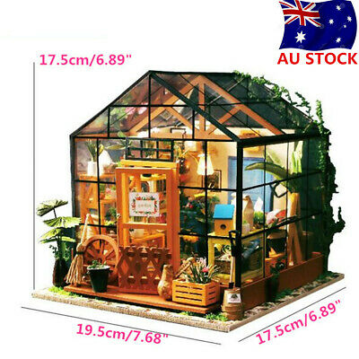 DIY LED Light Dolls House Build Imagine House Model Kit Greenhouse Miniature AU