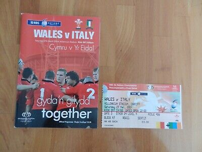 Wales V Italy Rugby Union Rbs 6 Nations Programme + Ticket Stub 27/3/2004..