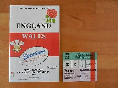 England vs Wales - Six Nations 1990 Programme + Ticket Stub. 17/2/1990