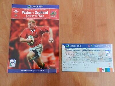 Wales V Scotland Rugby Union Rbs 6 Nations Programme + Ticket Stub 6/4/2002.