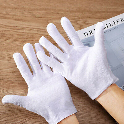 12 Pairs Soft Works Glove White Cotton Gloves Thicker Cleaning Dry Sensitive