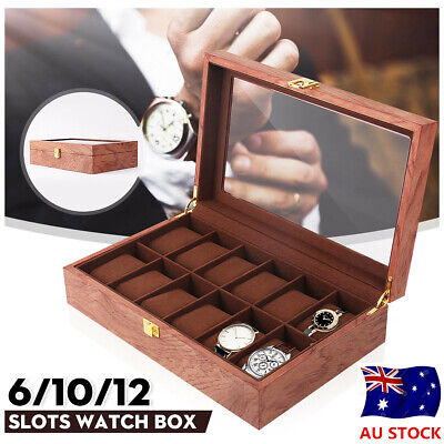 6/10/12 Slots Vintage Wooden Watch Box Display Organizer Jewelry Storage Case