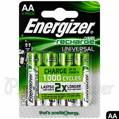 4 x Energizer Rechargeable AA batteries Universal 1300 mAh Accu NiMh Pack of 4