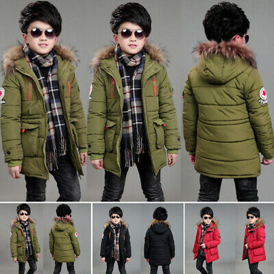 Warm Winter Kids /Boys Clothes Padded Puffer Coat Jacket Hoodie Hooded Parka
