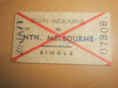 Victorian Railways Ticket SOUTH MELBOURNE To NORTH MELBOURNE Adult Single 1971.