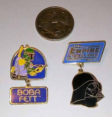 Vintage Star Wars DARTH VADER / BOBA FETT 1980 Collectors Pins