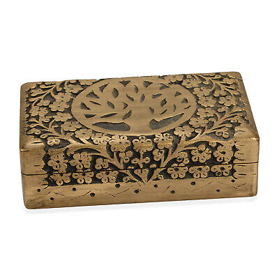Matte and Gold Finished Hand Carved Mango Wooden Jewelry Storage Box