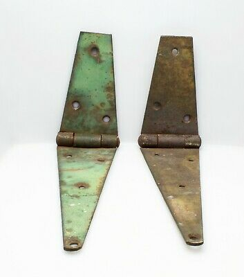 Two Antique Vintage Barn Door Gate Iron Hinges