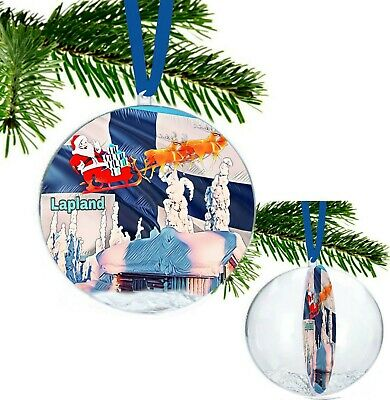 Lapland Santa Sleigh Ride Large Christmas Bauble with Glitter Snowflakes