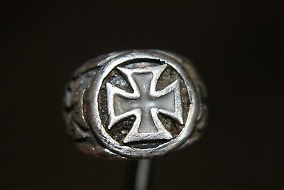 Medieval Knights Templar Silver Ring Crusaders with Crosses 1200-1400 AD
