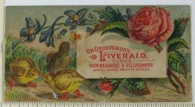 c1890 Dr Grosvenors Liver Aid Victorian Trade Card Quack Medicine Woman Chicks