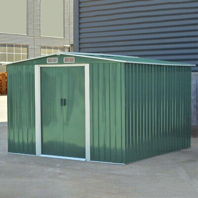 Garden Metal Shed Storage 2 Door Apex Roof Outdoor With Free Base Foundation wt