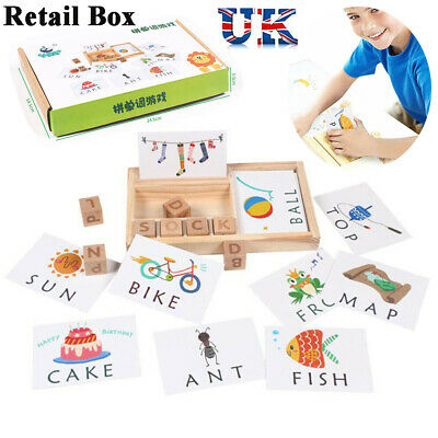 Baby 3-in-1 Spelling Learning Wooden Game English Spelling Words Enlightenment
