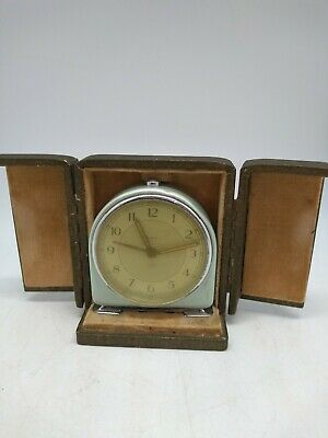 Vintage Clock Smiths Wind Up Travel Clock with Case - working