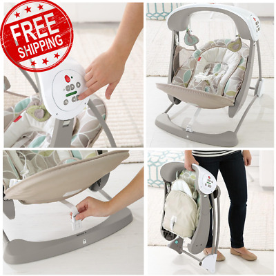 Portable Baby Swing & Stationary Infant Seat In One Bouncer Vibrating Chair NEW