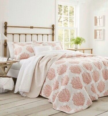 Laura Ashley Coral Coast Quilt Bedspread Full / Queen 2-Piece Bedding Bed $129 F