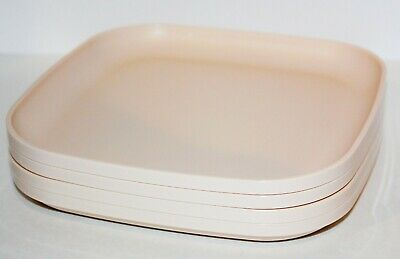 """Tupperware Plates Set of 4 Vintage Square Lunch Dishes 8"""" in Ivory Rose Pink"""