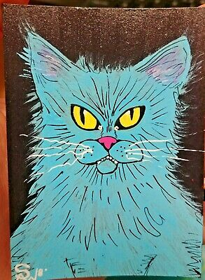 OOAK Original Painted ACEO Art Card 2.5 x 3.5 Scary Blue Cat