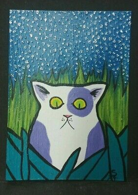 Original OOAK Painting ACEO ATC 2.5 x 3.5 Signed Purple Spotted Cat Stars