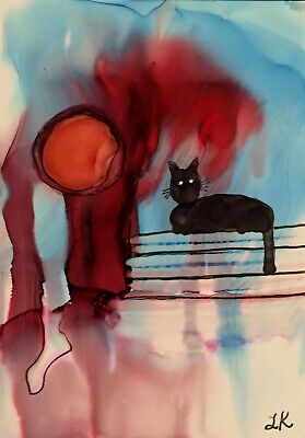 ACEO black Cat moon wall red blue Original painting by Lynne Kohler