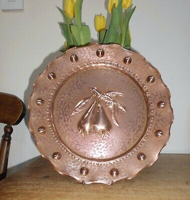 Vintage French Arts & Crafts Repousse Copper Salver, Plate~Wall Hanging