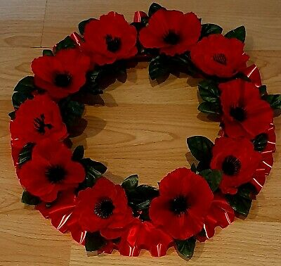 """Artificial poppy memorial wreath 15""""  circle. Funeral/remembrance."""