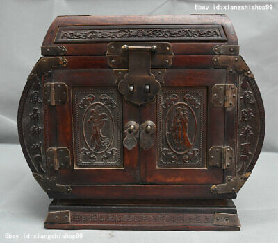"""12"""" Old China HuangHuaLi Wood Carved Dragon Phoenix Statue Jewelry Container Box"""
