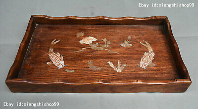 14 Old China HuangHuaLi Wood Inlay Shell Lucky Lotus Fish Plate Dish Tray Pallet